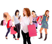 Small group shopping girl — Stockfoto