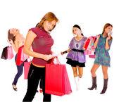 Ragazza dello shopping di piccolo gruppo — Foto Stock