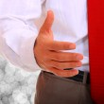 homem de negócios posando sobre fundo abstrato — Foto Stock