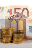 金币和银行纸币 — 图库照片