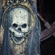Pirate skull on ship - Stock Photo
