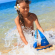 Little girl on a beautiful day at the beach — Stock Photo #22485939