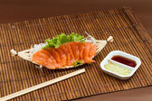 Sliced raw salmon sashimi — Stock Photo