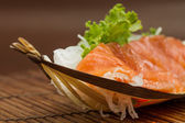 Sliced raw salmon sashimi — 图库照片