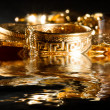 Jewels and gold coins - Stock Photo