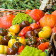 Many different ecological vegetables on market - Stock Photo
