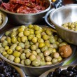 Bowls of olives at a market — Stock Photo