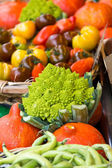 Many different ecological vegetables on market — Stock Photo