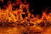 Blazing flames on black — Stock Photo
