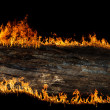 Burning wooden board - 图库照片