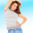 Young sexy woman in jeans shorts — Stock Photo #24440389