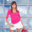 Happy young woman shopping - Stockfoto