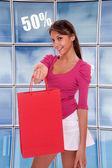 Mujer joven felices compras — Foto de Stock