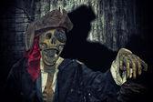 Skeleton in pirate suit — Stock Photo