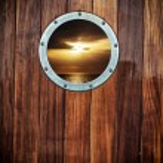 oblò della barca con vista oceano — Foto Stock