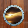 Boat porthole with ocean view — Stock Photo