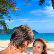 Young sexy couple on beach — Stock Photo #25237191