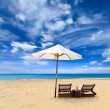 Sunbed on the beach - Stock Photo
