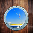 Boat closed porthole — Stock Photo