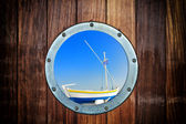 Boat closed porthole — Stock Photo