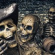 Three Skeleton Pirates Portrait — Stok fotoğraf