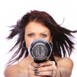 Woman with fashion hairstyle holding hairdryer — Stock Photo #25503439