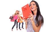 Liten grupp shopping flicka — Stockfoto