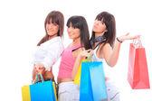 三个女孩与购物袋 — 图库照片