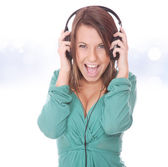 Girl Listening to Music — Foto Stock