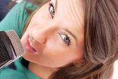 Trendy Singer Girl Singing In Retro Mic — Stock Photo