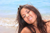 Asian model posing on Beach — Stock Photo