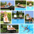 Collage of a young woman by the pool — Stock Photo