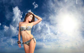Woman on the beach — Stockfoto