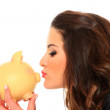 Woman with piggy bank — Stock Photo