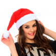 Woman with santa hat — Stockfoto