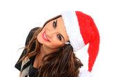 Kvinna med santa hatt — Stockfoto