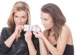 Dolar ile kız — Stok fotoğraf