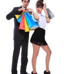 shopping par leende. isolerade över vit bakgrund — Stockfoto
