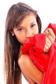 Beautiful woman in red dress — Stock Photo