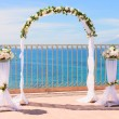 Wedding arch by the sea — Stock Photo