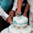 Wedding cake and bride and groom — Stock Photo