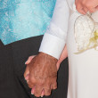 Bride and groom holding hands — Stock Photo