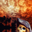 Pirate skeleton in the caribbeans — Stock Photo