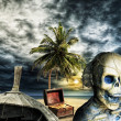 Pirate skeleton on a desert island — Stock Photo