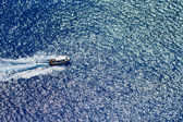 Motor boat in the Ionian sea — Stock Photo