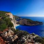 Shipwreck Navagio beach in Zakynthos — Stock Photo