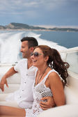 Picture of happy young couple in port — Stock Photo
