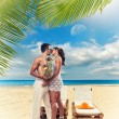 Portrait Of Happy Beautiful Couple Enjoying At Beach — Stok fotoğraf