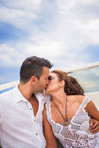 Picture of happy young couple on a yacht — Stockfoto