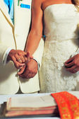 Bride and groom on their wedding day at orthodox church — Foto Stock